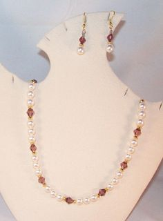Swarovski Pearl & Crystal Jewelry - Amethyst and Pearls Necklace and Earrings