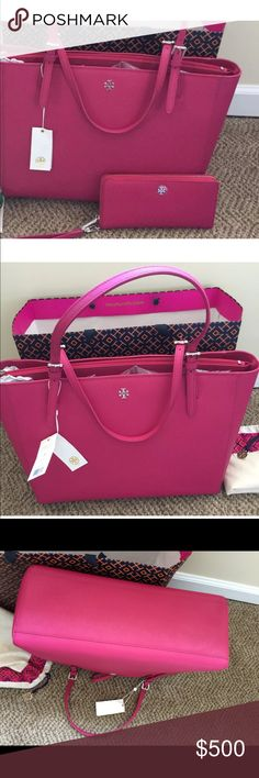 """NWT Pink Tory Burch York Tote and Matching Wallet 100% Authentic Tory Burch York Tote and Matching  large passport Wallet. Heart coin purse bag charm/key chain. All items new with tags. Comes with dust bag and shopping bag(shopping bag has a rip). Color is carnation red which is a gorgeous pink color.     STYLE NUMBER22149613 DETAILS & FIT Holds a full day's essentials, plus a 15"""" laptop Flat leather shoulder straps with 9"""" (23 cm) drop Height: 11"""" (28 cm) Length: 15"""" (37 cm) Depth: 6"""" (17…"""