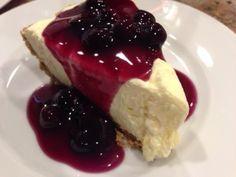 Gluten Free No Bake Vanilla Cream Pie with Blueberry Sauce