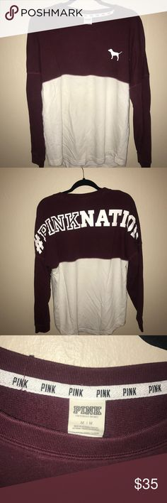 PINK Victoria's Secret Spirit Jersey Color: Maroon & White  Print (Backside): #PinkNation Size: Medium  Condition: Great condition, comfy & cozy for the holiday season! PINK Victoria's Secret Sweaters Crew & Scoop Necks
