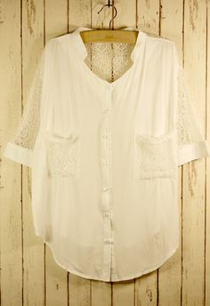 Best Lace Forward Shirt in White - New Arrivals - Retro, Indie and Unique Fashion