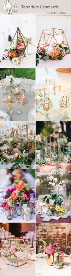 Modern wedding ideas - Terrarium geometric wedding centerpieces / http://www.deerpearlflowers.com/terrarium-geometric-details-ideas/