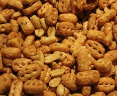 Recipe Nuts and Bolts by learn to make this recipe easily in your kitchen machine and discover other Thermomix recipes in Starters. Peanut Recipes, My Recipes, Chicken Recipes, Cooking Recipes, Ginger Nut Biscuits, Christmas Cooking, Christmas Recipes, Chex Mix, Appetisers