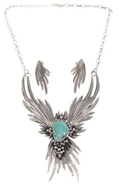 Silver Turquoise Navajo Necklace Earrings Set GS57603