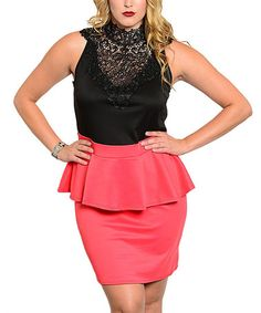 Look what I found on #zulily! Black & Coral Lace Peplum Dress - Plus #zulilyfinds