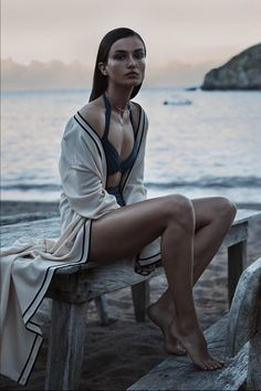 Love the postwork for the muted blue tones. Easy commercial shoot, love the legs. Andreea Diaconu by Josh Olins for The Wall Street Journal Magazine February 2014.