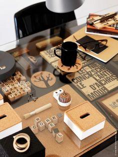 IKEA HOME OFFICE CHIC! glass table VIKA MINE! Kvissle box with lid, cork, 129 kr set of 4, SIGNS black mug SEK 9, QUIET coasters cork with illustration 9 € / 4 pcs, QUIET tablet 49 SEK / 4 st BLADIS box 129 SEK Set of 4.