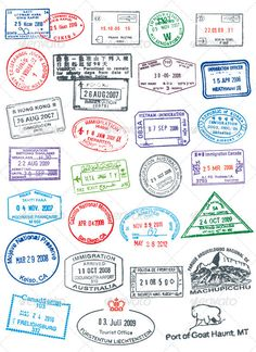passport stamps. Like real stamp, rough and cracked. Included PSD, Vector EPS, AI Illustrator.