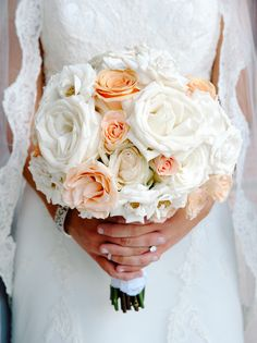 Peach and White Bouquet of Roses and Spray Roses Bouquet by Andrea Layne Floral Design (www.andrealaynefloraldesign.com)
