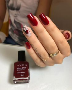 26 Melhores Ideias de Unhas Decoradas com Flor - Uñas Decoradas 💅 Dark Nails, Matte Nails, Red Nails, Acrylic Nails, Coffin Nails, Latest Nail Designs, Nail Art Designs, Nail Swag, Nagel Gel