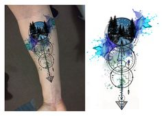 Designer: Andrija Protic  Geometrical Nature Forearm Tattoo Design Dotwork Watercolor