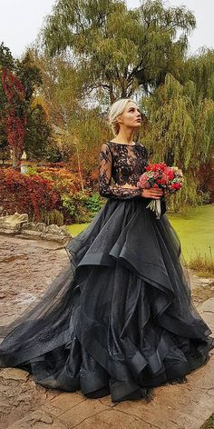 24 Beautiful Black Wedding Dresses That Will Strike Your Fancy ❤ black wedding dresses a line gown gothic lace with sleeves espana via instagram ❤ Full gallery: https://weddingdressesguide.com/black-wedding-dresses/