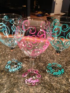 Swirls Hand Painted Wine Glasses Personalize by TheArtsyBohemian Wine Bottle Glasses, Diy Wine Glasses, Decorated Wine Glasses, Hand Painted Wine Glasses, Wine Bottles, Wine Glass Crafts, Wine Bottle Crafts, Pebeo Porcelaine 150, Wine Glass Designs