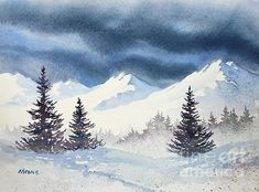 Mighty Mountains. watercolor, 11 x 15 by Teresa Ascone