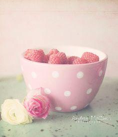 Fresh raspberries for baking... in a pink polka dot bowl!