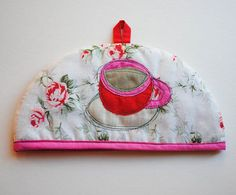 Small Teapot Cozy with roses teacup and heart red beige by Hatome, £8.00