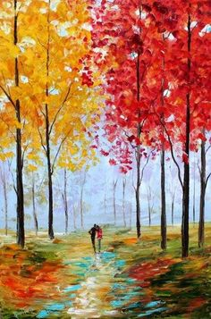 autumn walk Decalz - Tiffany Singer | Lockerz - finger dot leaves, trunks drawn with card dipped in paint