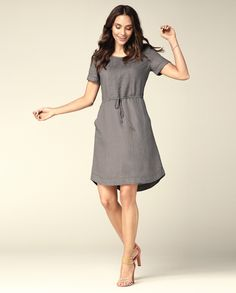 Grey linen dress with a belt:)