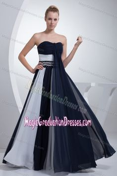 Navy Blue and White Chiffon Long Graduation Dresses for College Patterns