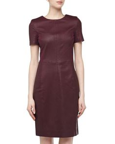 Red Purple Short-Sleeve Paneled Leather Front Boxy Dress, Bordeaux by Halston Heritage at Neiman Marcus Last Call $250
