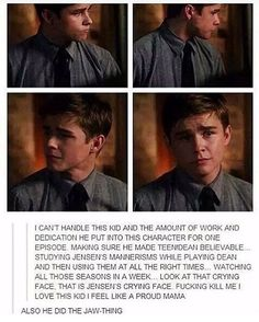 Dylan Everett did an amazing job as teen!dean and dean transformed into a teen