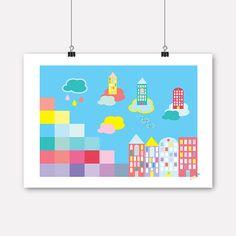 Jubel, jubelshop.no, game, skyline, kidsdesign, kids interior, poster, plakat, posterdesign, nursery, kidsroom