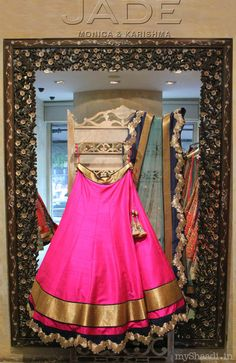 This is a dazzling pink color semi stitched free size lehenga choli and the lehenga fabric is high quality raw silk and it has a superb finishing. The pink color lehenga has a black color stylish border and th Lehenga Choli, Bridal Lehenga, Anarkali, Sarees, India Fashion, Ethnic Fashion, Asian Fashion, Indian Bridal Wear, Indian Wear