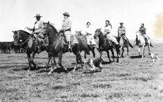 O presidente Getúlio Vargas, a filha Alzira e outros na fazenda Santos Reis. São Borja (RGS), dezembro de 1934.