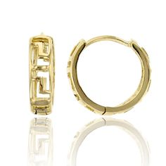 14K Yellow Gold High Polished 3.00x11.00mm Greek Key Huggie Earring. 14K SOLID GOLD: This product is made of solid 14K gold and each piece is carefully trademarked with the metal purity for certification. Each piece is stamped 14K or 585 and that guarantees the quality and craft. DESIGN & FINISH: We understand gold and we really understand the manufacturing process of precious metal. Each piece is carefully designed from scratch by our design department and we present to you our finished...