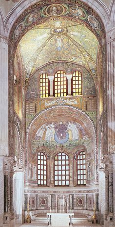 Choir and apse of San Vitale with mosaic of Christ between two angels, Saint Vitalis, and Bishop Ecclesius, Ravenna, Italy, ca. 526-547 AD, Early Byzantine art