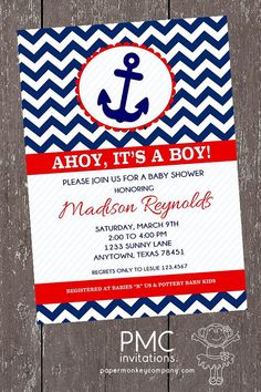Chevron Nautical Baby Shower Invitations - 1.00 each with envelope on Etsy, $1.00