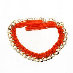 Bracelet gourmette et tresses rouge feu - Human nature