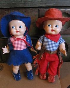 VINTAGE 1950'S IDEAL BOOPSIE COWBOY & COWGIRL DOLLS HARD PLASTIC DOLLS 11""