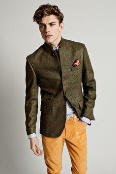 Tweed hunter green jacket, dusty yellow pants