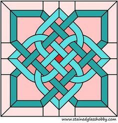 Celtic knot stained glass square pattern by trisha Celtic Stained Glass, Stained Glass Designs, Stained Glass Panels, Stained Glass Projects, Stained Glass Patterns, Mosaic Patterns, Stained Glass Art, Zentangle Patterns, Fused Glass