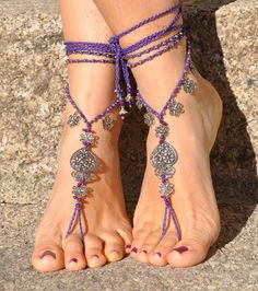 "Barefoot Sandals Filigree "" Heart of Viana"" Purple-Feet Jewelry-Beaded Crochet Wedding Hippie Sandals. Beautiful and unique barefoot sandals with a portuguese vibration. They look great as a necklace or you can use it as a slave bracelet. Handmade crochet with love and care using waxed polyester cord, tibetan silver beads, filigree heart of viana and filigree flower charms, achira seed beads and glass beads. The lace is long enough to wrap it 2 times around the leg. These sandals are very..."