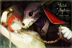 Anime picture 1420x960 with mahou tsukai no yome hatori chise elias ainsworth short hair looking at viewer breasts red eyes red hair inscription aqua eyes lips horn (horns) glowing torn clothes fang (fangs) armpit (armpits) frame glowing eye (eyes) checkered checkered background
