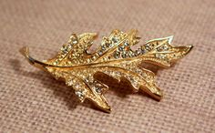 Leaf Pin Brooch Gold Tone with Rhinestones - Vintage by FrogTears on Etsy