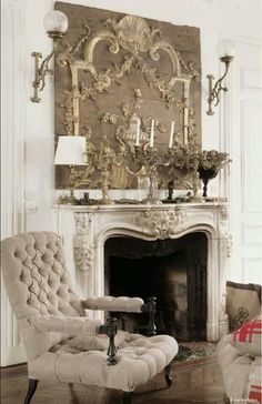 French Style can be recreated using wood carvings purchased from Wild Goose Carvings at www.buycarvings.com. You could make a relief painting, similar to this one above the fireplace, using carved appliques from WGC.