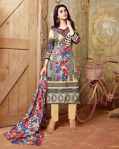 "D-Onlineshop on Twitter: ""Indian #Cambric Cotton Printed Unstitched #Shalwar Suit - Brown Size ONE SIZE ৳ 2,080.00 Shop at Now."