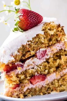 Strawberry Coconut Carrot Cake with Mascarpone Buttercream Food Cakes, Cupcake Cakes, Cupcakes, Just Desserts, Delicious Desserts, Cake Recipes, Dessert Recipes, Frosting Recipes, Half Baked Harvest