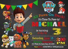 INVITACIÓN de patrulla pata invitación de cumpleaños por mymyparty 5th Birthday Party Ideas, Third Birthday, Party Themes, Paw Patrol Birthday Invitations, Paw Patrol Party, Puppy Party, Childrens Party, Birthdays, Dog Birthday