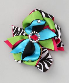 Pink, Green & Turquoise Zebra Bling Bow