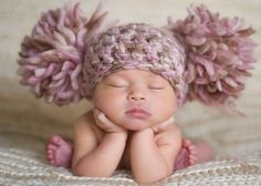 Newborn Baby Girl Hat Chunky Pink Cream Ivory Off White Beige Brown Crochet Knit Infant Double Pom Pom Beanie Photography Prop so so so cute! So Cute Baby, Baby Kind, Baby Love, Cute Kids, Cute Babies, Baby Emily, Baby Girl Hats, Girl With Hat, Baby Girl Newborn