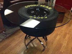 Another use for the Tony Stewart tire! Cool NASCAR table using a real tire and wheel. Tire Furniture, Car Part Furniture, Automotive Furniture, Automotive Decor, Cool Furniture, Nascar Racing, Man Cave Basement, Man Cave Garage, Sweet Home