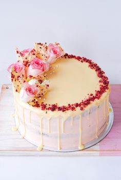 Raspberry, White Chocolate & Rhubarb Layer Cake