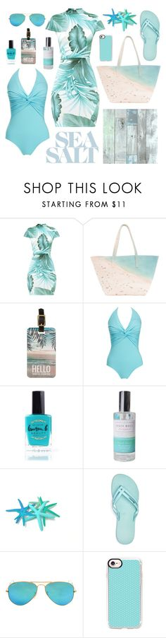 """""""Toes in the Sand"""" by deadlynight ❤ liked on Polyvore featuring Paige Gamble, Melissa Odabash, Lauren B. Beauty, IPANEMA, Ray-Ban and Casetify"""