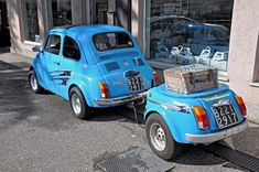 Fiat 500 turchese con rimorchio #turquoise Custom Trucks, Custom Cars, Vespa, Campers World, Truck Bed Trailer, Fiat Cars, Foto Blog, Fiat Abarth, Smart Car