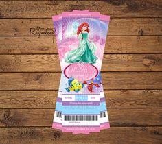Disney Princess Ticket Stub Invitation by RaynebowShoppe on Etsy Custom Birthday Invitations, Ticket Stubs, All Design, Birthday Ideas, Birthdays, Disney Princess, Baby, Personalized Birthday Invitations, Anniversaries