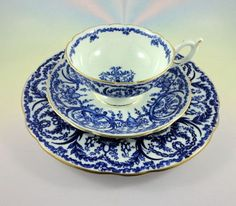 "Cobalt Blue Swag Coalport Tea Cup, Saucer and 8"" Plate Trio Set"